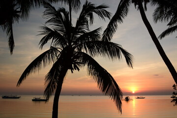 Tropical sundown. White beach. Boracay island. Western Visayas. Philippines