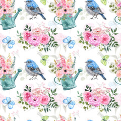 Summer romantic cute seamless pattern in shabby chic country style. Floral bouquet in rustic watering can, blue bird, flowers and butterflies on white background. Floral print for design