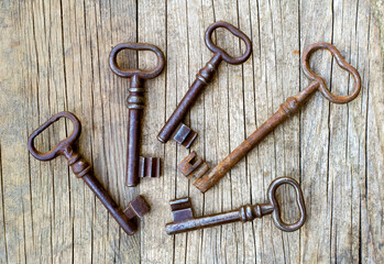 Keys on a wooden background, buy or rent home, real estate investment concept