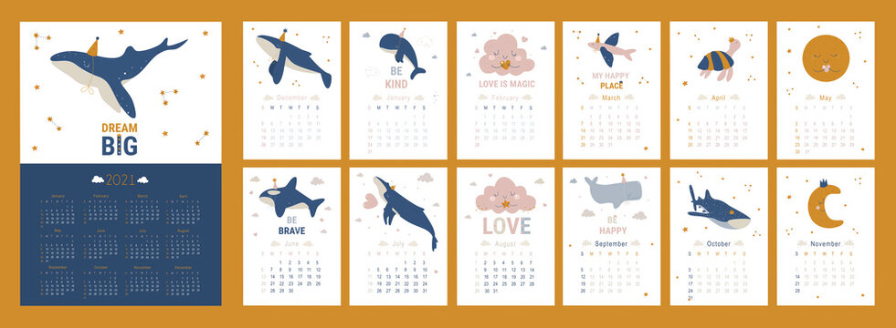 Kids calendar for 2021 year. Printable planner of 12 months with cute whales illustrations. Baby cartoon vector calendar. Doodle calendar set with dolphin, clouds, sea animal, ocean, pink, stars.