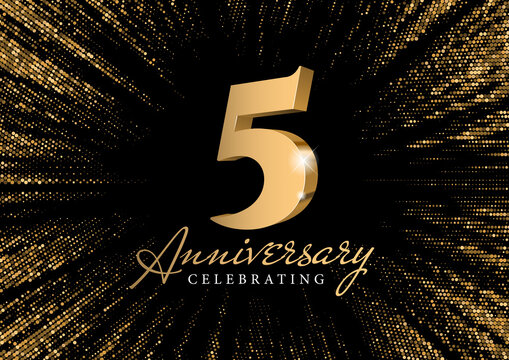 Anniversary 5. gold 3d numbers. Against the backdrop of a stylish flash of gold sparkling from the center on a black background. Poster template for Celebrating 5th anniversary event party. Vector