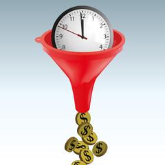 Concept du temps c'est de l'argent, avec le symbole d'une horloge qui se transforme en dollars en passant dans un entonnoir.