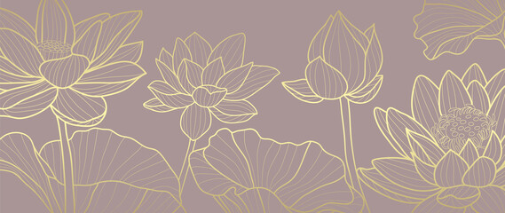 Door stickers Wall Decor With Your Own Photos Luxury wallpaper design with Golden lotus and natural background. Lotus line arts design for fabric, prints and background texture, Vector illustration.