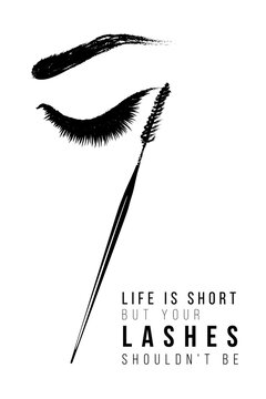 Eye long lashes and brows. Positive banner. Makeup artist t-shirt design and business card concept. Hand drawn graphic vector fashion illustration in watercolor style. Black art on white background