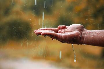 Obraz rain water falling on hand - fototapety do salonu