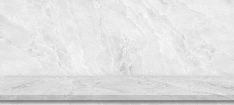 Perspective white marble  shelf table for interior decoration used as studio background wall to display your products.