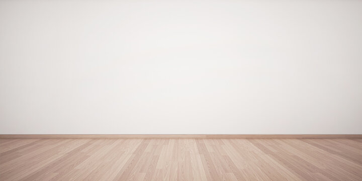 3d rendering of interior. Empty white wall and light wooden floor. Minimal design. Empty interior background.