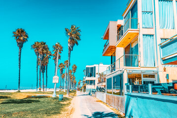 Famous Los Angeles Beach - Venice Beach with people.