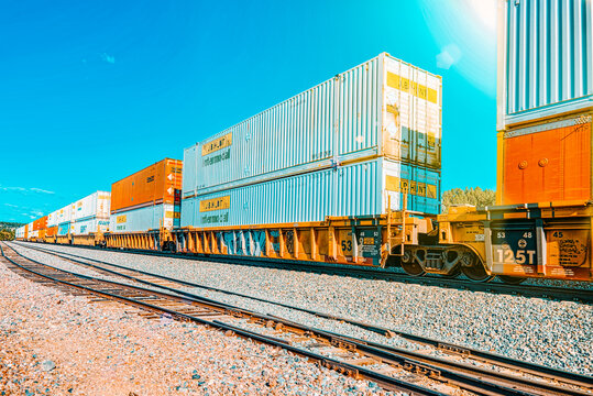 Freight train BNSF Railway Companies on a sunny day in Arizona.