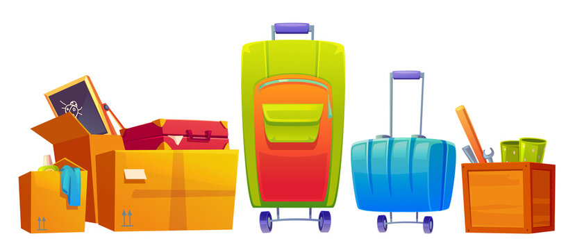 Set of old things luggage, suitcase and baggage bags, kids blackboard, wrench, bat and detergent in cardboard and wooden boxes isolated on white background. Cartoon vector illustration, icon, clip art