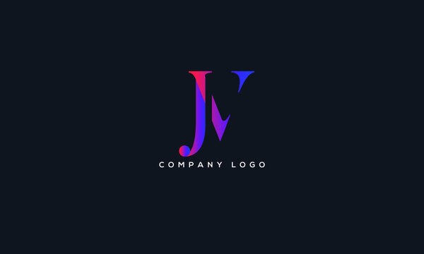 Abstract creative minimal and unique alphabet letter icon logo JV