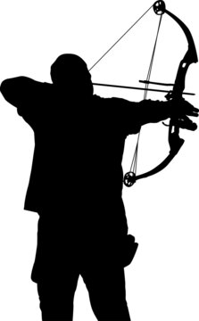 Male archer aiming with a small compound bow