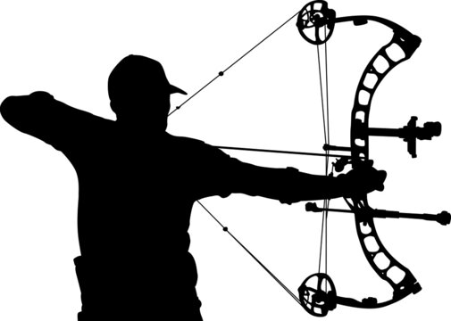 Silhouette of a male archer aiming with a compound bow
