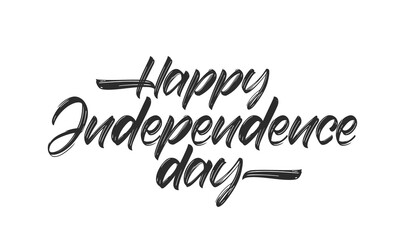 Vector Handwritten lettering of Happy Independence Day on white background.