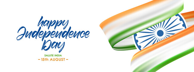 Vector Greeting banner with Indian flag and Handwritten lettering of Happy Independence Day. 15th August. Salute India
