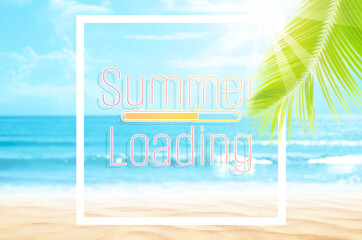 Wall Mural - Hello summer words on blur tropical beach with bokeh sunlight wave abstract background. Summer vacation and travel holiday concept.