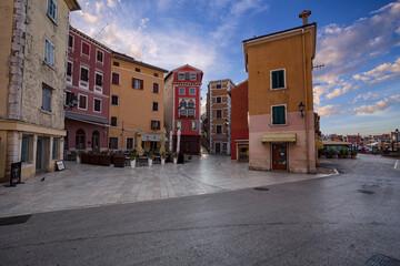 Wall Mural - Street scene in old mediterranean town of Rovinj, Croatia.