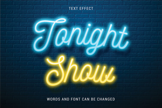 Shiny text effect 100% editable isolated on brick background vector image