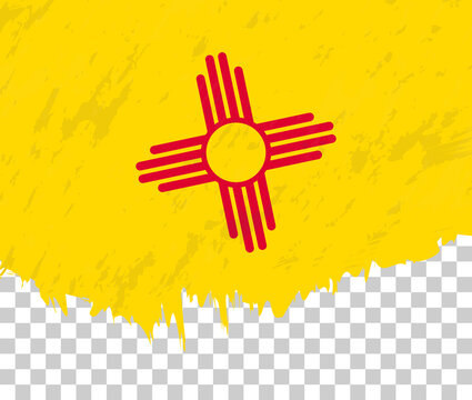 Grunge-style flag of New Mexico on a transparent background.
