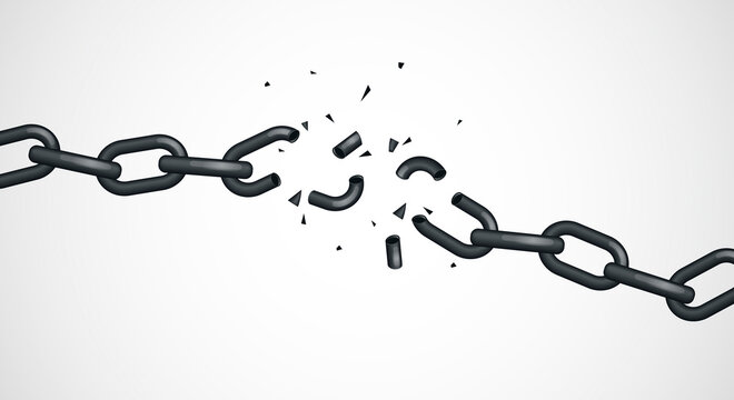 Vector Illustration Broken Chain. Concept Of Freedom, Escape Or Power