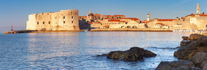 Dubrovnik. Old city walls and towers in the early morning.