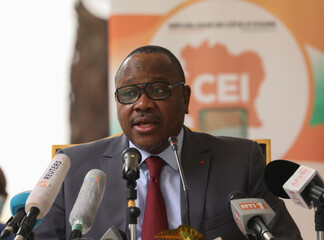 The president of the Ivorian Electoral Commission Mr. Kuibiert-Coulibaly Ibrahime speaks during the ceremony of handing over the official electoral list to political parties at the headquarters of the electoral commission, in Abidjan