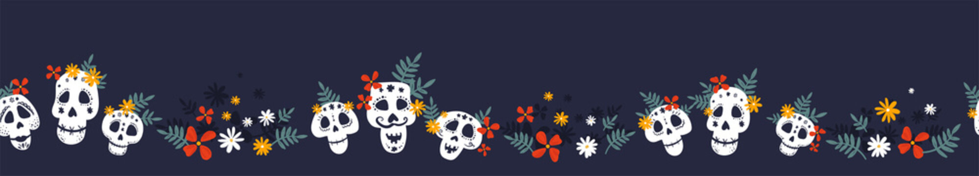 Day of the dead, Dia de los muertos horizontal seamless pattern, hand drawn with decoration and flowers, great for textiles, banners, wallpapers, wrapping - vector design