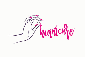 Woman hand with pink nail polish manicure.Elegant nails art.Nail salon illustration.Beauty and spa icon.Handwritten typography.