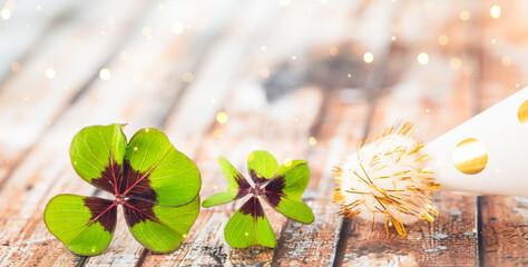 lucky card with clover