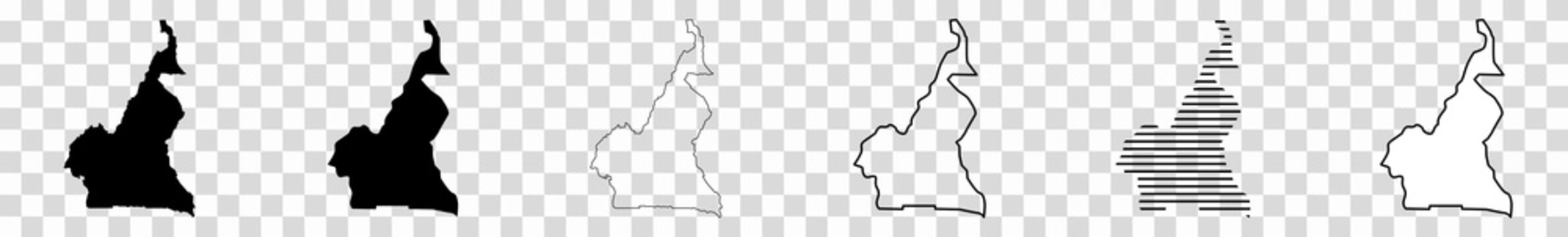 Cameroon Map Black   Cameroonian Border   State Country   Transparent Isolated   Variations