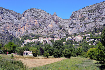 Moustiers-Sainte-Marie at the foot of the mountain,commune in the Alpes-de-Haute-Provence department in southeastern France