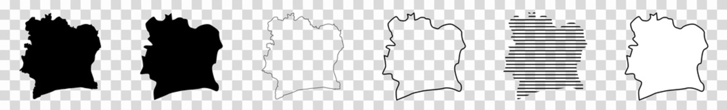Ivory Coast Map Black   Ivorian Border   State Country   Transparent Isolated   Variations