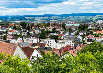 View of the rooftops of Fulda from Petersberg, Germany