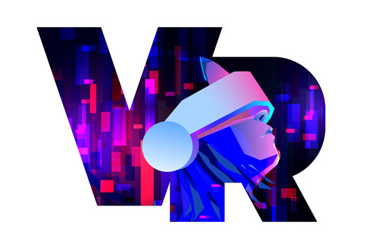 VR letters composition. Woman wearing virtual or augmented reality glasses on abstract neon background