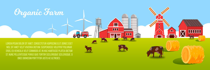 Organic farm vector landscape with green meadow, cows, haystacks, mill, water tower, barn, wind turbine. Agriculture farming landscape with livestock, red village buildings, sky, grazing animals