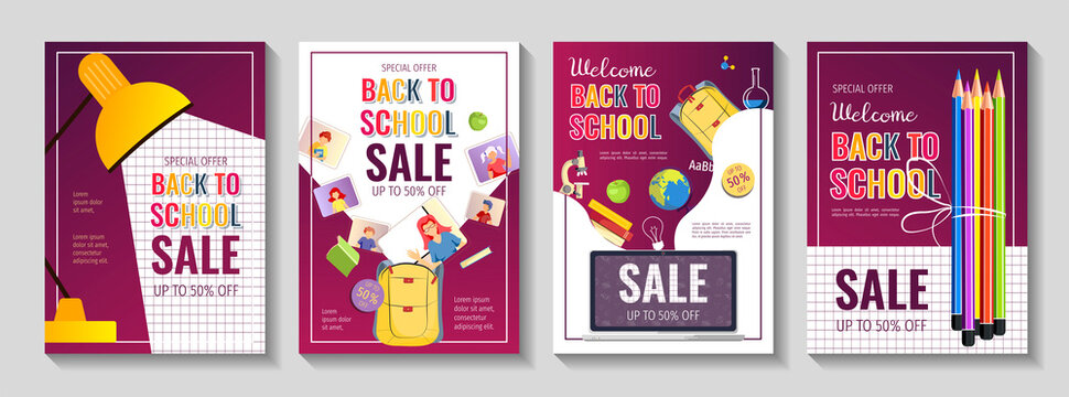 Back to school promo sale flyer set with school supplies. Education, E-learning, Kids classes, Stationery store concept. A4 vector illustration for poster, banner, discount, special offer.