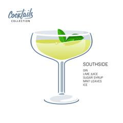 Southside mint leaves cocktail glass lime drink illustration