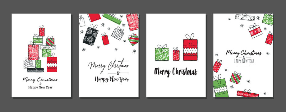 Trendy Merry Christmas set cards with modern hand drawn elements and greetings. Lettering design collection. doodle and scribbles line vector.