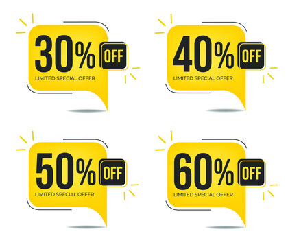 30%, 40%, 50% and 60% off. Set of tag discounts. Banner with four yellow square balloons with special offers vector.