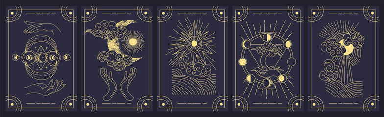 Set of five mystery cards in black and gold with intricate designs over a black background, colored vector illustration