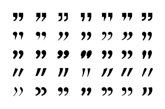 Quotes icon set. Quotation marking speech punctuation excerpt commas double comma. Vector flat style quotes signs illustration.