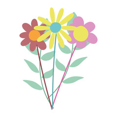 Wall Mural - bunch flowers nature decoration cartoon isolated icon design
