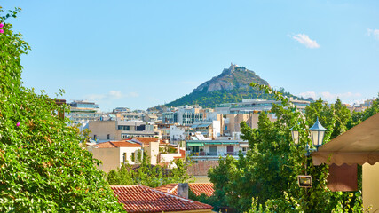 Rooftops of Plaka district and Lycabettus hill in Athens