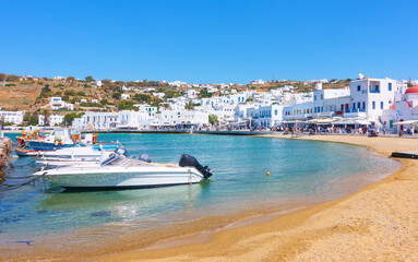 Old port and waterfront in Mykonos