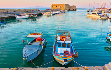 Fishing boats in the harbour in Heraklion