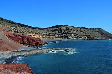 Lagoon El Golfo with the black beach. Lanzarote Island. Spain