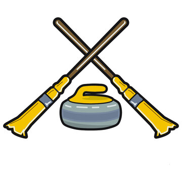 Curling brooms and rock