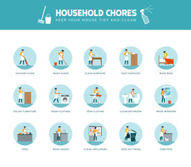 Woman doing household chores at home