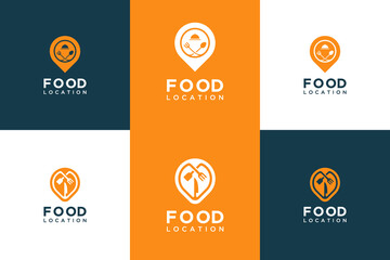 Set collection food location logo design. symbol fork, spoon, knife and pin