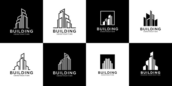 Set of logo building with liner concept architecture real estate logo design template